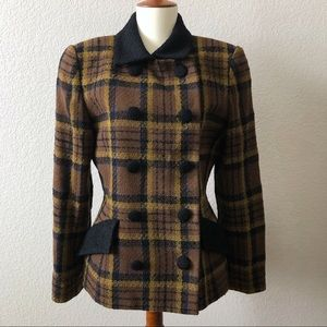 Vintage Oscar De La Renta Plaid Wool Coat 8
